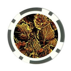 Leaves In Morning Dew,yellow Brown,red, Poker Chip Card Guards