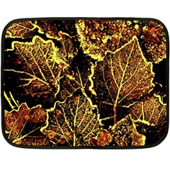 Leaves In Morning Dew,yellow Brown,red, Double Sided Fleece Blanket (mini)  by Costasonlineshop