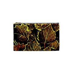 Leaves In Morning Dew,yellow Brown,red, Cosmetic Bag (small)