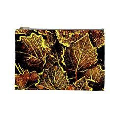 Leaves In Morning Dew,yellow Brown,red, Cosmetic Bag (large)  by Costasonlineshop