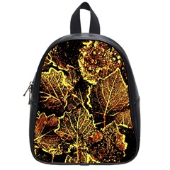 Leaves In Morning Dew,yellow Brown,red, School Bags (small)