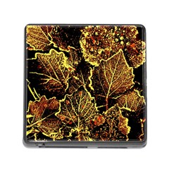 Leaves In Morning Dew,yellow Brown,red, Memory Card Reader (square) by Costasonlineshop