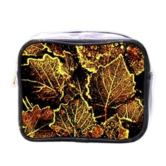 Leaves In Morning Dew,yellow Brown,red, Mini Toiletries Bags