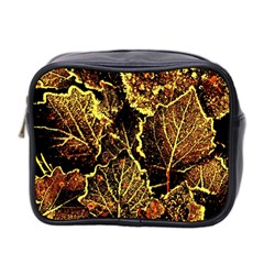 Leaves In Morning Dew,yellow Brown,red, Mini Toiletries Bag 2 Side
