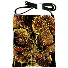 Leaves In Morning Dew,yellow Brown,red, Shoulder Sling Bags by Costasonlineshop