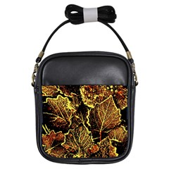 Leaves In Morning Dew,yellow Brown,red, Girls Sling Bags
