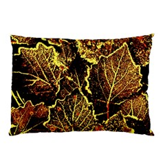 Leaves In Morning Dew,yellow Brown,red, Pillow Case (two Sides) by Costasonlineshop