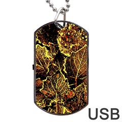 Leaves In Morning Dew,yellow Brown,red, Dog Tag Usb Flash (one Side) by Costasonlineshop