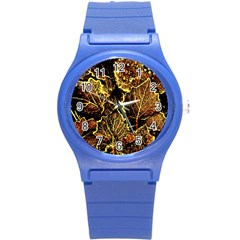 Leaves In Morning Dew,yellow Brown,red, Round Plastic Sport Watch (s)