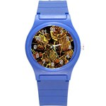 Leaves In Morning Dew,yellow Brown,red, Round Plastic Sport Watch (S) Front