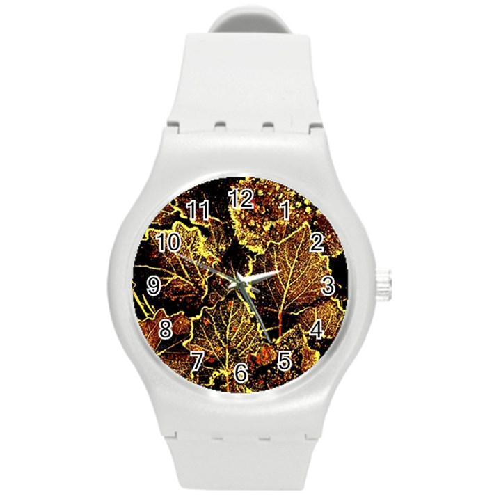 Leaves In Morning Dew,yellow Brown,red, Round Plastic Sport Watch (M)
