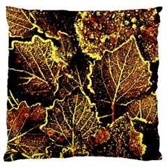 Leaves In Morning Dew,yellow Brown,red, Large Cushion Case (two Sides) by Costasonlineshop