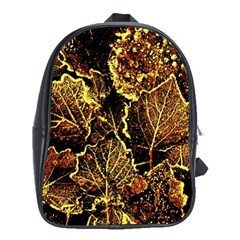 Leaves In Morning Dew,yellow Brown,red, School Bags (xl)  by Costasonlineshop