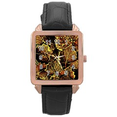 Leaves In Morning Dew,yellow Brown,red, Rose Gold Leather Watch  by Costasonlineshop