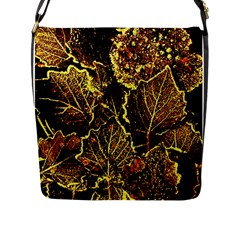 Leaves In Morning Dew,yellow Brown,red, Flap Messenger Bag (l)