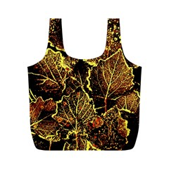 Leaves In Morning Dew,yellow Brown,red, Full Print Recycle Bags (m)
