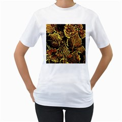 Leaves In Morning Dew,yellow Brown,red, Women s T Shirt (white)