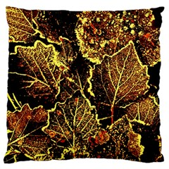 Leaves In Morning Dew,yellow Brown,red, Large Flano Cushion Case (two Sides)