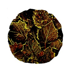 Leaves In Morning Dew,yellow Brown,red, Standard 15  Premium Flano Round Cushions