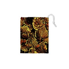 Leaves In Morning Dew,yellow Brown,red, Drawstring Pouches (xs)  by Costasonlineshop
