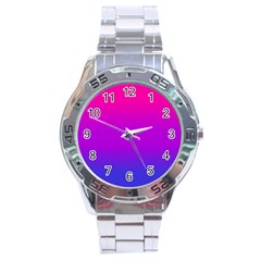 Pink Purple Blue Stainless Steel Analogue Watch by AnjaniArt