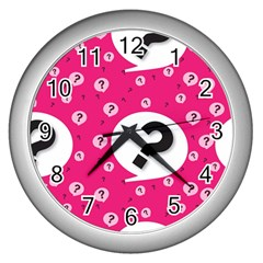 Question Mark Red Sign Wall Clocks (silver)  by AnjaniArt