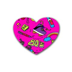 Smile Cute Face Purple Rubber Coaster (heart)  by AnjaniArt