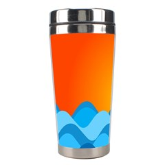 Water Orange Stainless Steel Travel Tumblers by AnjaniArt