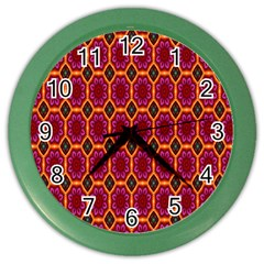 Pink Green Yellow Flower Color Wall Clocks by AnjaniArt