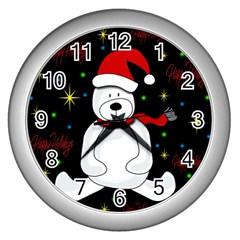 Polar Bear   Xmas Design Wall Clocks (silver)  by Valentinaart