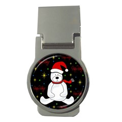 Polar Bear   Xmas Design Money Clips (round)  by Valentinaart