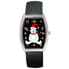 Polar Bear   Xmas Design Barrel Style Metal Watch by Valentinaart