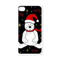 Polar Bear   Xmas Design Apple Iphone 4 Case (white) by Valentinaart