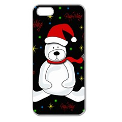 Polar Bear   Xmas Design Apple Seamless Iphone 5 Case (clear) by Valentinaart
