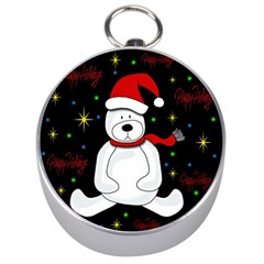 Polar Bear   Xmas Design Silver Compasses by Valentinaart