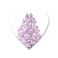 Elegant Starry Christmas Pink Metallic Look Heart Magnet by yoursparklingshop