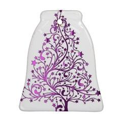 Elegant Starry Christmas Pink Metallic Look Ornament (bell)  by yoursparklingshop