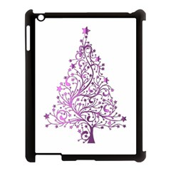 Elegant Starry Christmas Pink Metallic Look Apple Ipad 3/4 Case (black) by yoursparklingshop