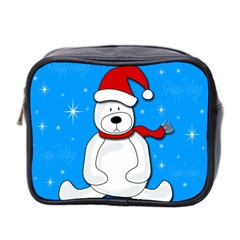 Polar Bear   Blue Mini Toiletries Bag 2 Side by Valentinaart