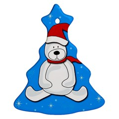 Polar Bear   Blue Christmas Tree Ornament (2 Sides) by Valentinaart