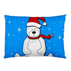 Polar Bear   Blue Pillow Case (two Sides) by Valentinaart