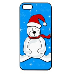 Polar Bear   Blue Apple Iphone 5 Seamless Case (black) by Valentinaart