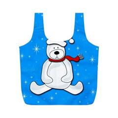 Polar Bear   Blue Full Print Recycle Bags (m)  by Valentinaart