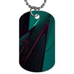 Abstract Green Purple Dog Tag (One Side) by Onesevenart