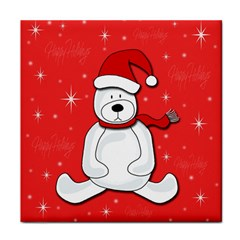 Polar bear - red Tile Coasters by Valentinaart