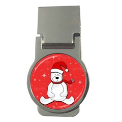 Polar Bear   Red Money Clips (round)  by Valentinaart