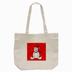 Polar Bear   Red Tote Bag (cream) by Valentinaart