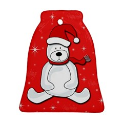 Polar Bear   Red Ornament (bell)  by Valentinaart