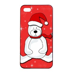 Polar Bear   Red Apple Iphone 4/4s Seamless Case (black) by Valentinaart
