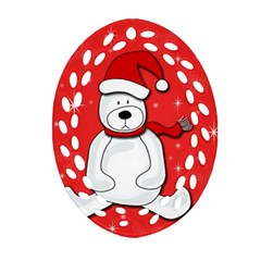 Polar Bear   Red Oval Filigree Ornament (2 Side)  by Valentinaart